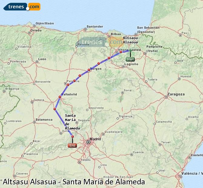 Enlarge map Trains Altsasu Alsasua to Santa Maria de Alameda