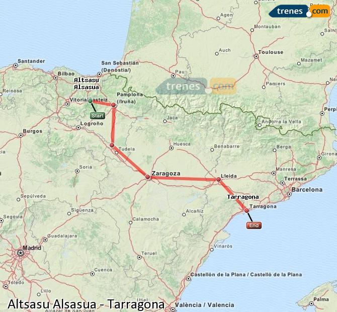 Karte vergrößern Züge Altsasu Alsasua Tarragona