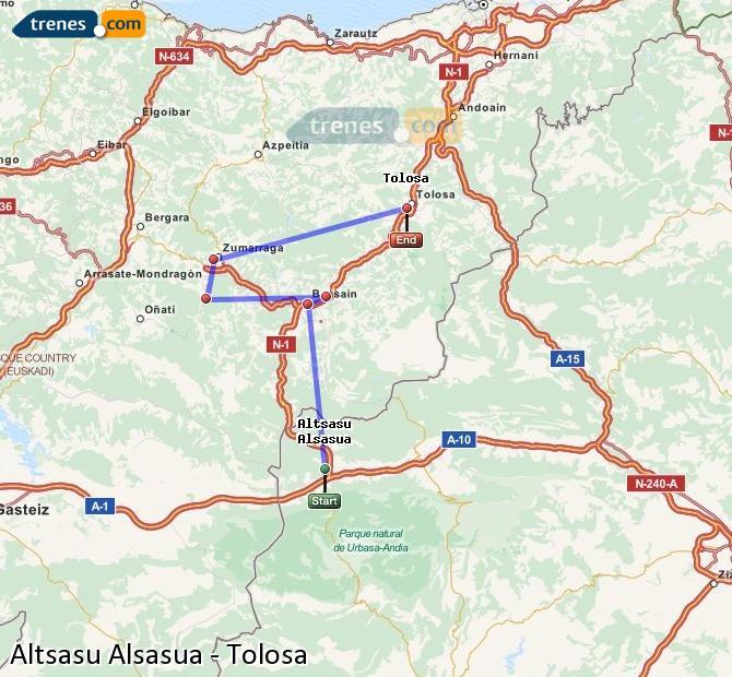 Agrandir la carte Trains Altsasu Alsasua Tolosa