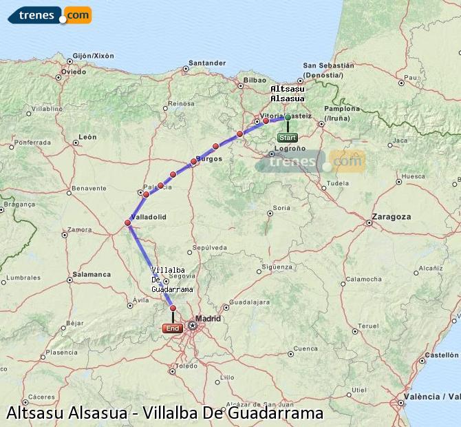 Ampliar mapa Comboios Altsasu Alsasua Villalba De Guadarrama
