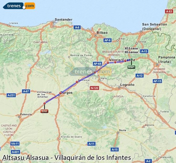 Ingrandisci la mappa Treni Altsasu Alsasua Villaquirán de los Infantes
