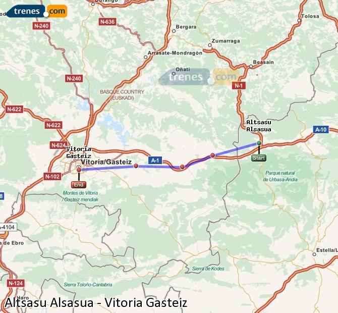 Ampliar mapa Comboios Altsasu Alsasua Vitoria Gasteiz