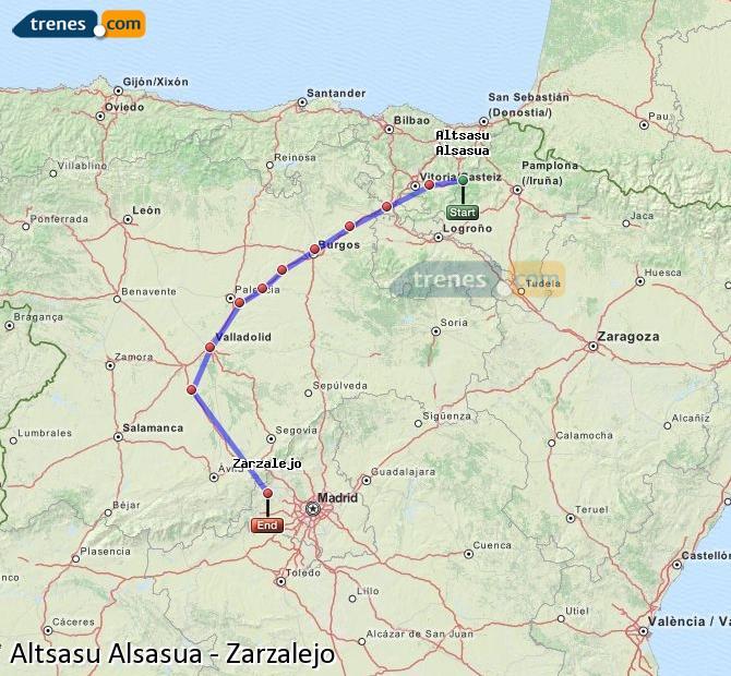 Agrandir la carte Trains Altsasu Alsasua Zarzalejo