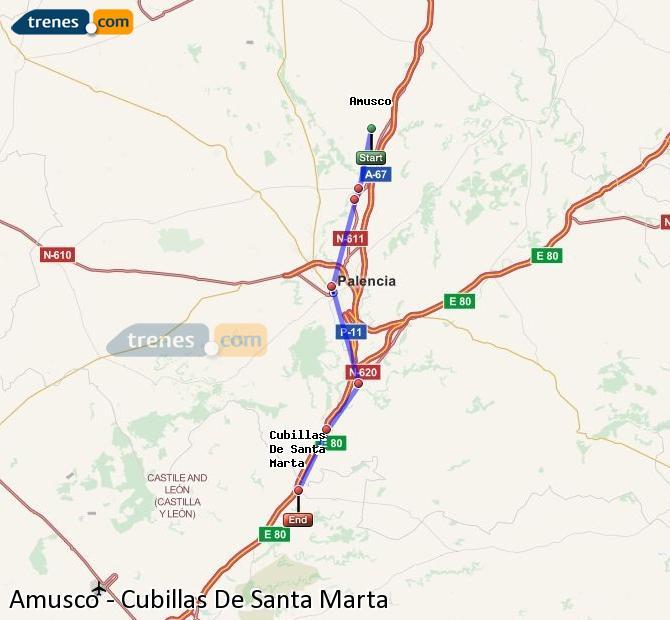 Enlarge map Trains Amusco to Cubillas De Santa Marta