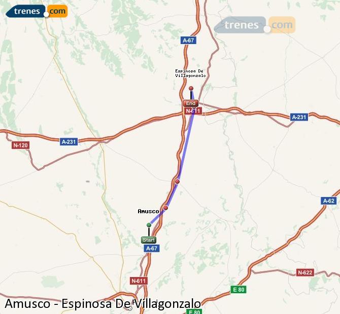 Agrandir la carte Trains Amusco Espinosa De Villagonzalo