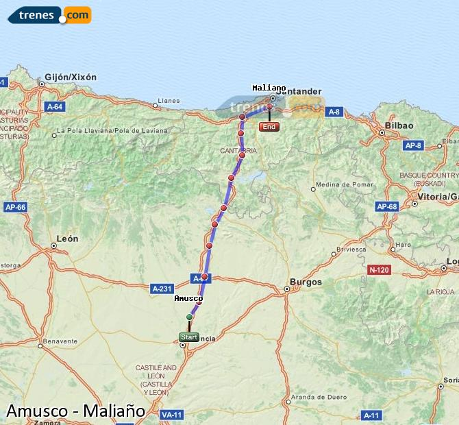Enlarge map Trains Amusco to Maliaño