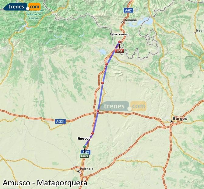 Enlarge map Trains Amusco to Mataporquera