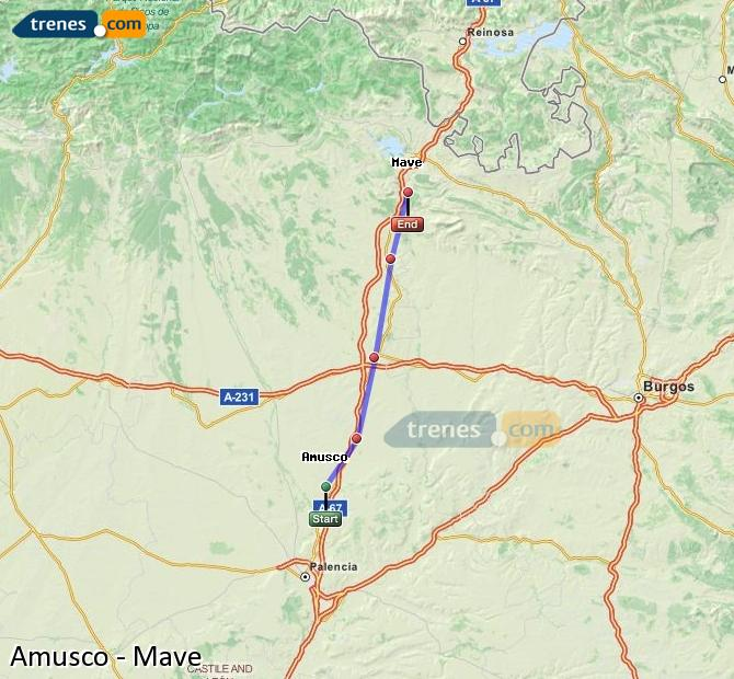Enlarge map Trains Amusco to Mave