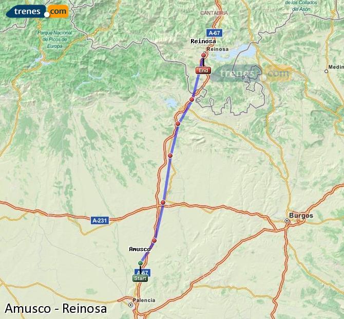 Ampliar mapa Comboios Amusco Reinosa