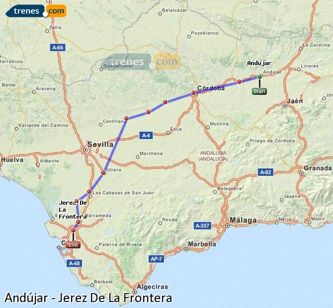 Enlarge map Trains Andújar to Jerez De La Frontera