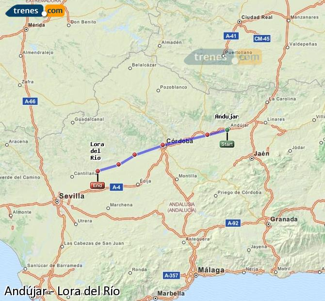 Enlarge map Trains Andújar to Lora del Río
