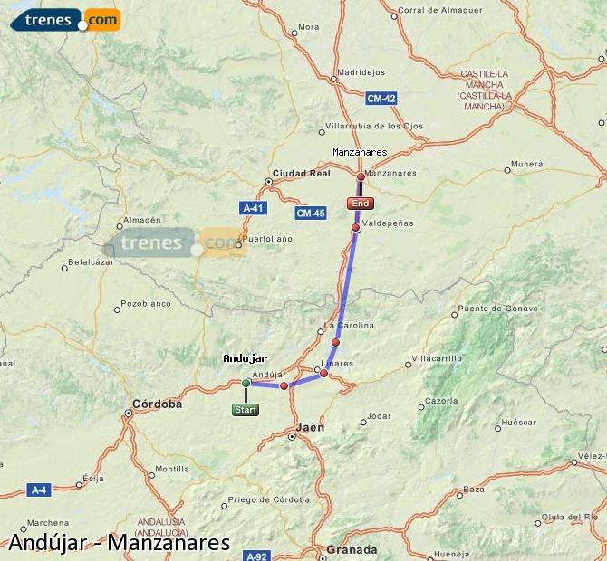 Agrandir la carte Trains Andújar Manzanares