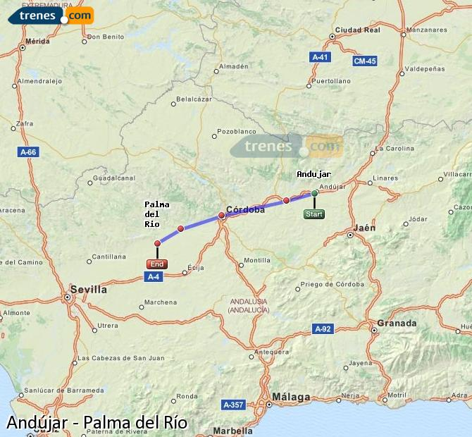Enlarge map Trains Andújar to Palma del Río