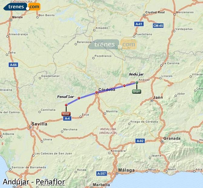 Karte vergrößern Züge Andújar Peñaflor