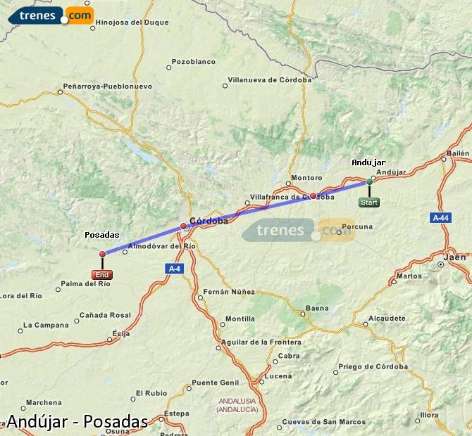 Enlarge map Trains Andújar to Posadas