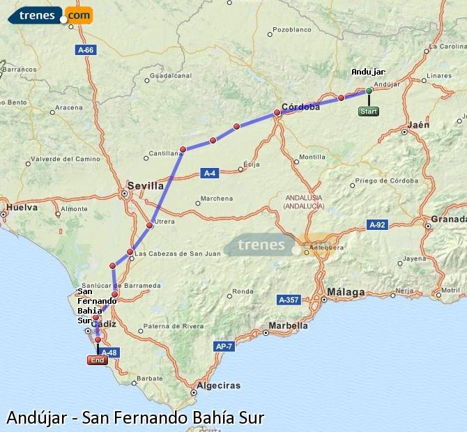 Ampliar mapa Comboios Andújar San Fernando Bahía Sur