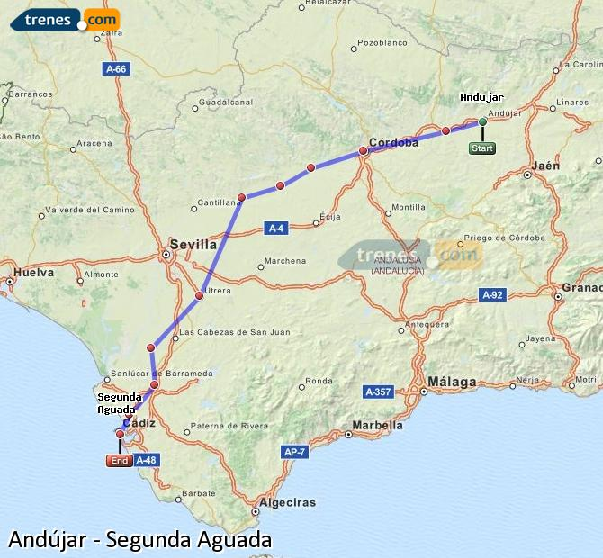 Enlarge map Trains Andújar to Segunda Aguada