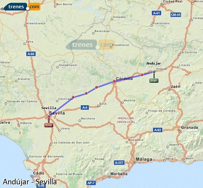 Enlarge map Trains Andújar to Seville