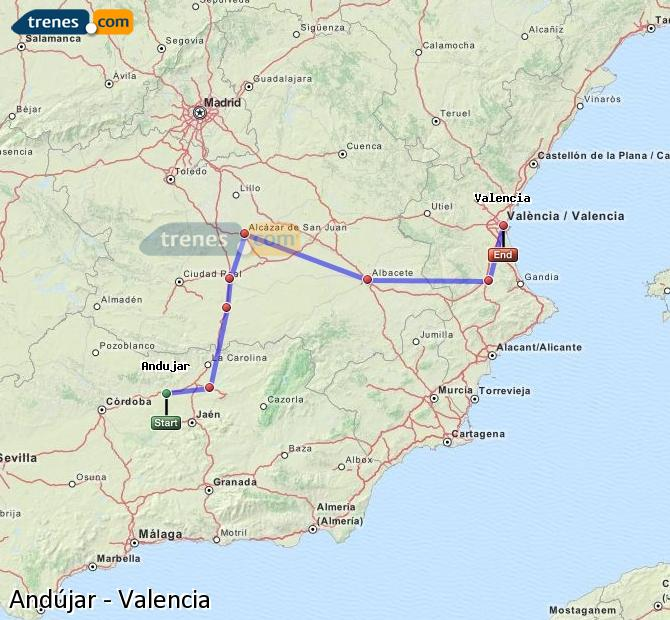 Enlarge map Trains Andújar to Valencia
