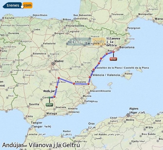 Agrandir la carte Trains Andújar Vilanova i la Geltrú