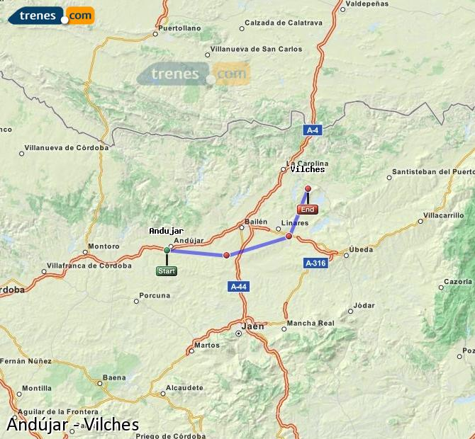 Enlarge map Trains Andújar to Vilches