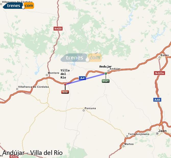 Enlarge map Trains Andújar to Villa del Rio
