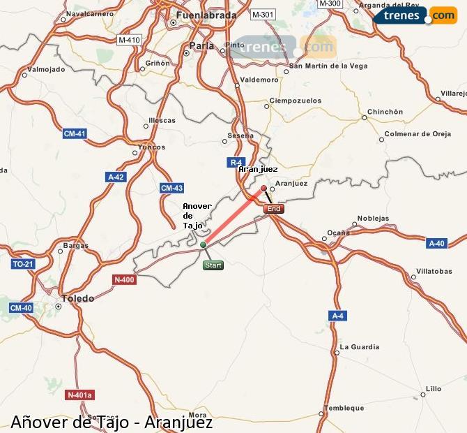 Ampliar mapa Trenes Añover de Tajo Aranjuez