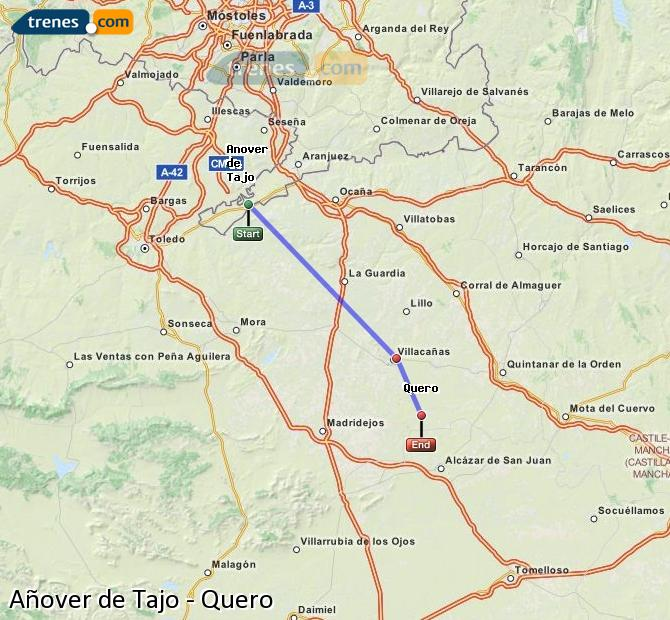 Enlarge map Trains Añover de Tajo to Quero