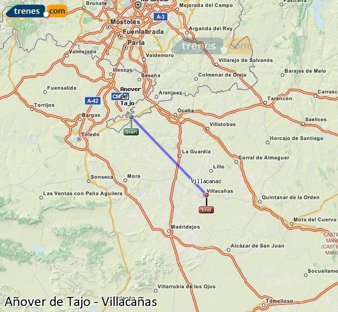 Ampliar mapa Comboios Añover de Tajo Villacañas