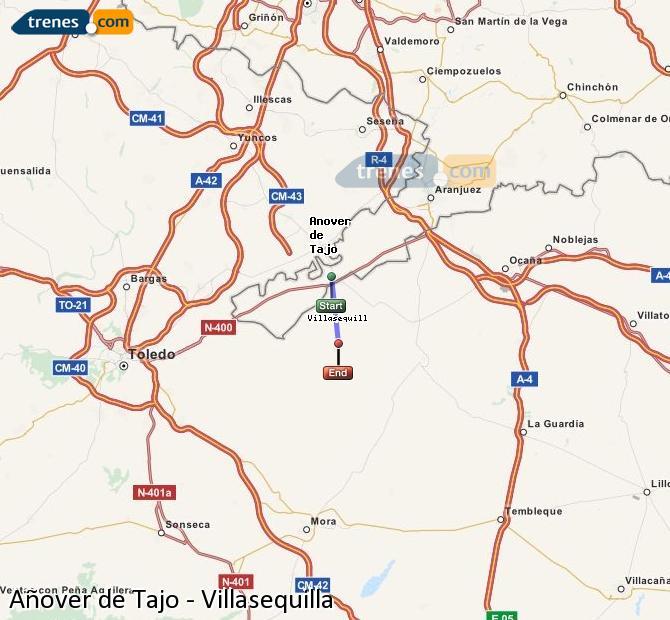 Karte vergrößern Züge Añover de Tajo Villasequilla