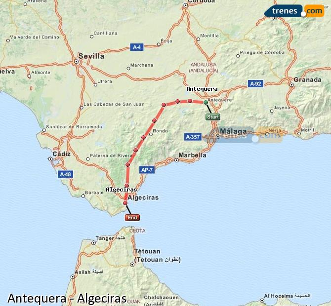 Enlarge map Trains Antequera to Algeciras