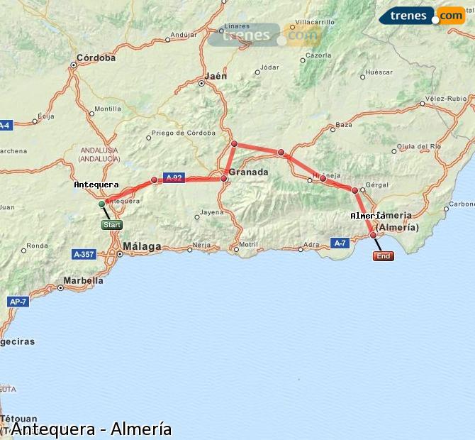 Karte vergrößern Züge Antequera Almería