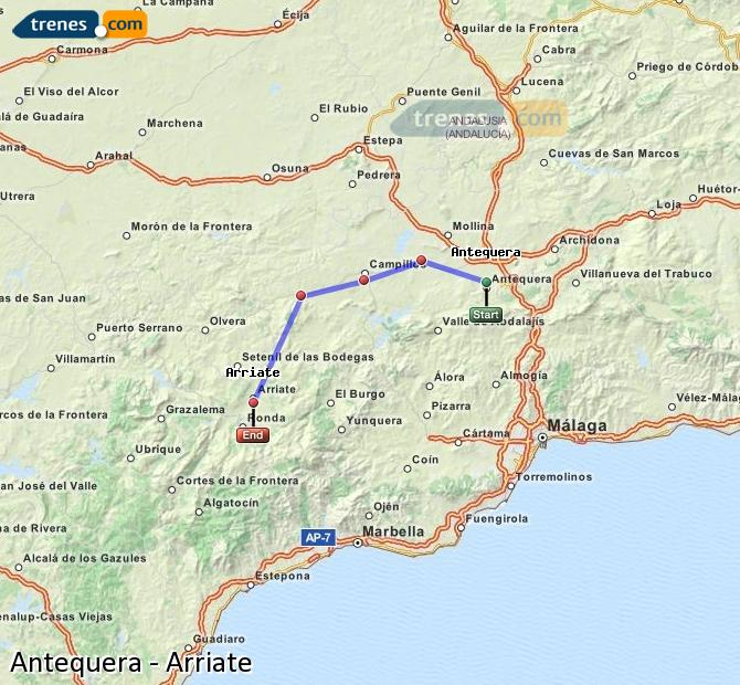Enlarge map Trains Antequera to Arriate