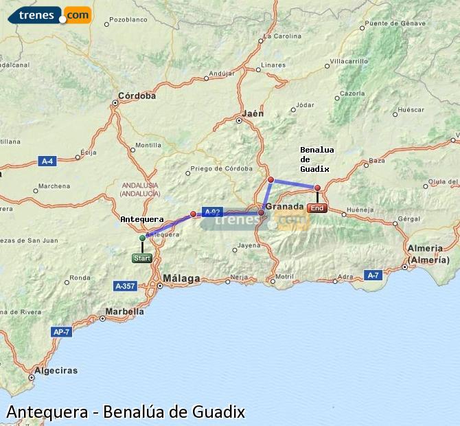 Enlarge map Trains Antequera to Benalúa de Guadix