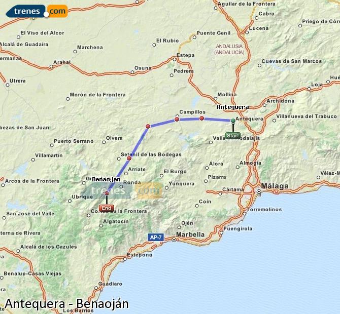 Ingrandisci la mappa Treni Antequera Benaoján