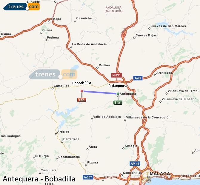 Agrandir la carte Trains Antequera Bobadilla