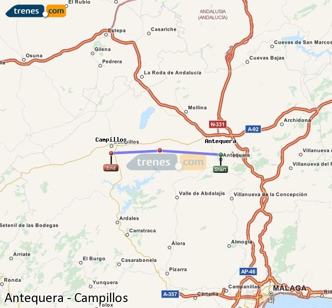 Enlarge map Trains Antequera to Campillos