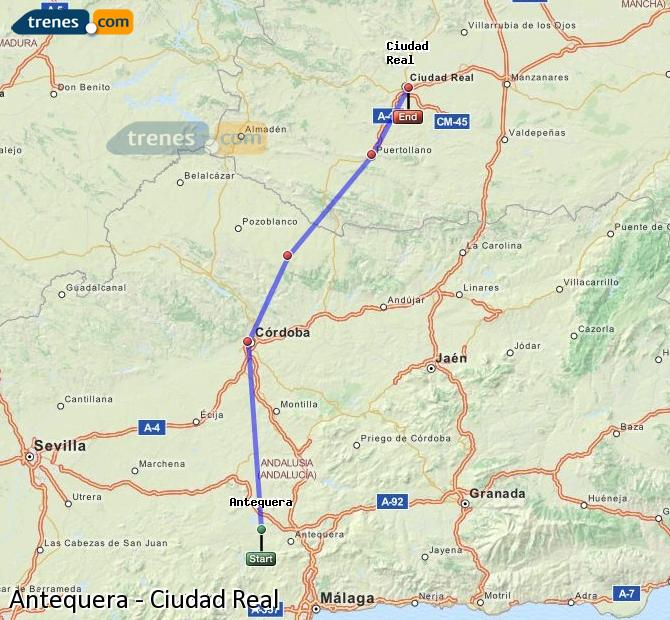 Enlarge map Trains Antequera to Ciudad Real