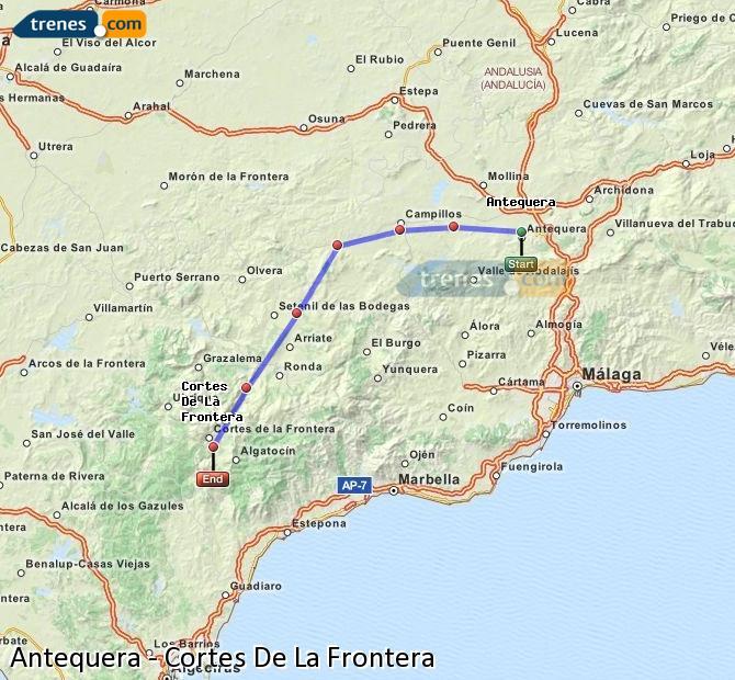 Ingrandisci la mappa Treni Antequera Cortes De La Frontera