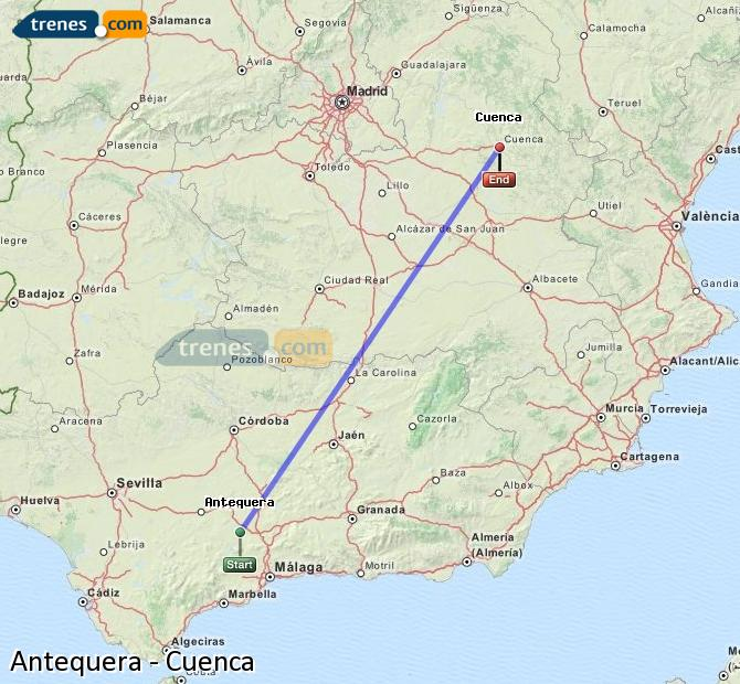 Agrandir la carte Trains Antequera Cuenca