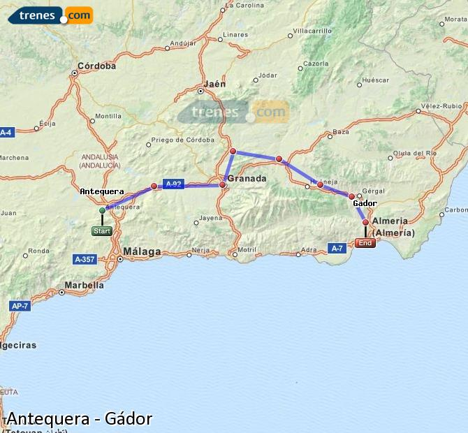 Enlarge map Trains Antequera to Gádor