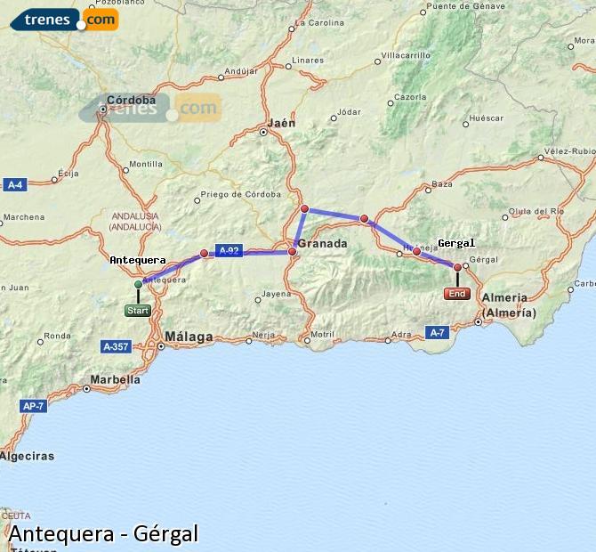 Ampliar mapa Comboios Antequera Gérgal