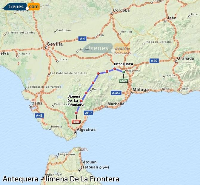 Karte vergrößern Züge Antequera Jimena De La Frontera