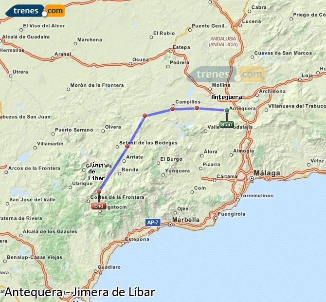 Enlarge map Trains Antequera to Jimera de Líbar