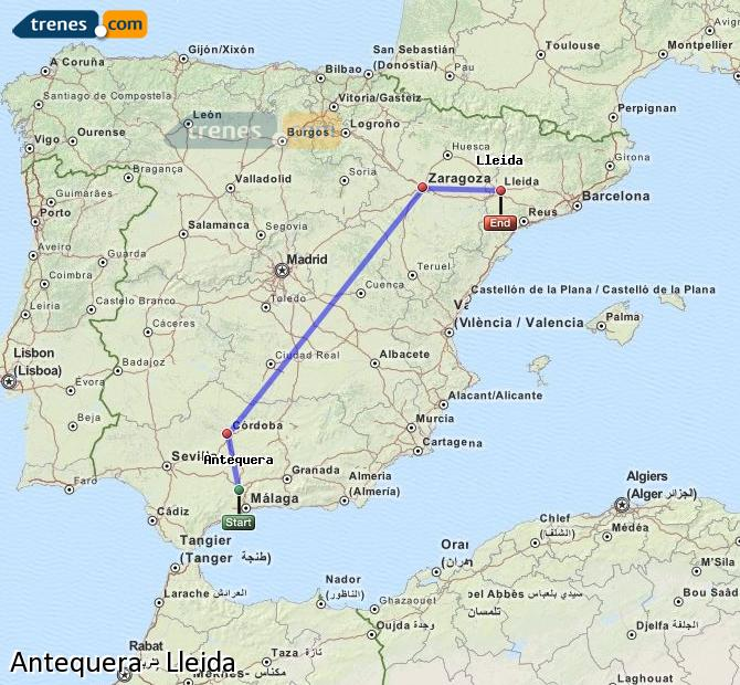 Enlarge map Trains Antequera to Lleida