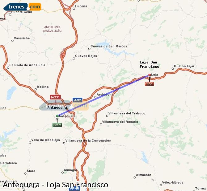 Enlarge map Trains Antequera to Loja San Francisco