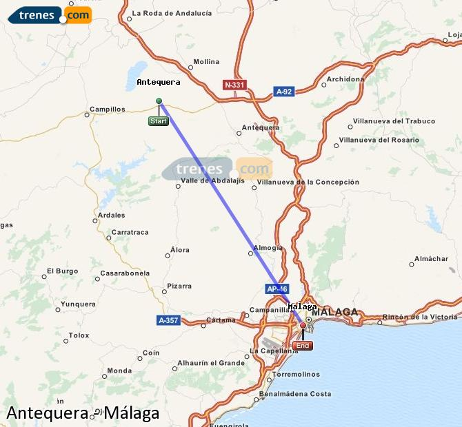 Enlarge map Trains Antequera to Malaga