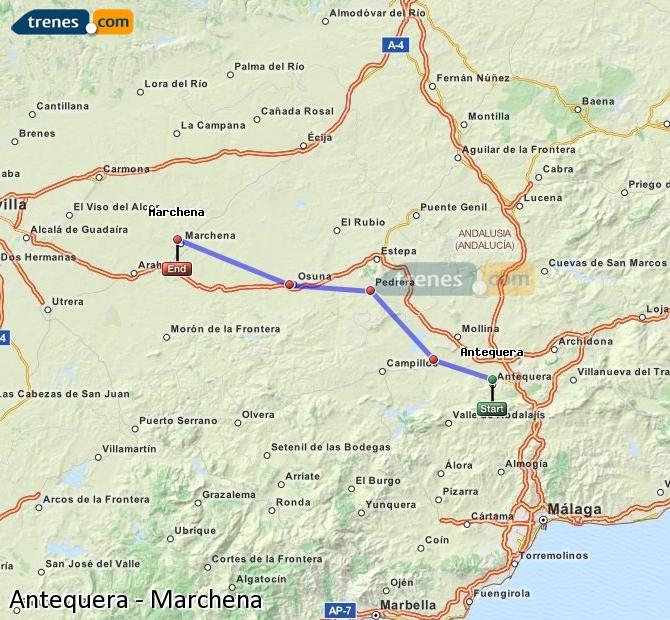 Karte vergrößern Züge Antequera Marchena