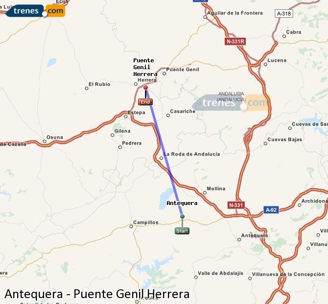 Ingrandisci la mappa Treni Antequera Puente Genil Herrera