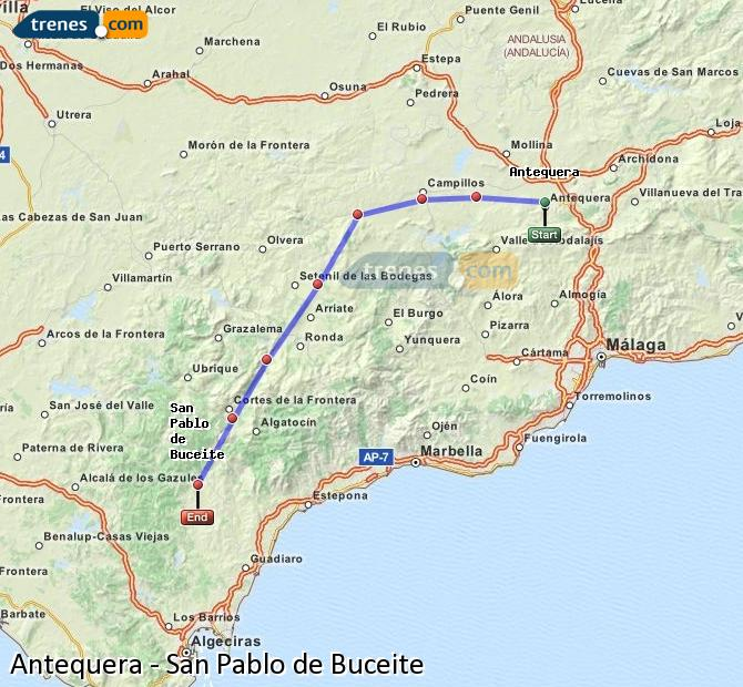 Enlarge map Trains Antequera to San Pablo de Buceite